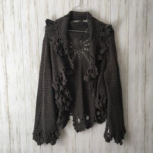 autumn cashmere • gray open crochet knit cardigan